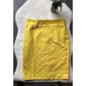 Ann Taylor Yellow & White Summer Pencil Skirt 0